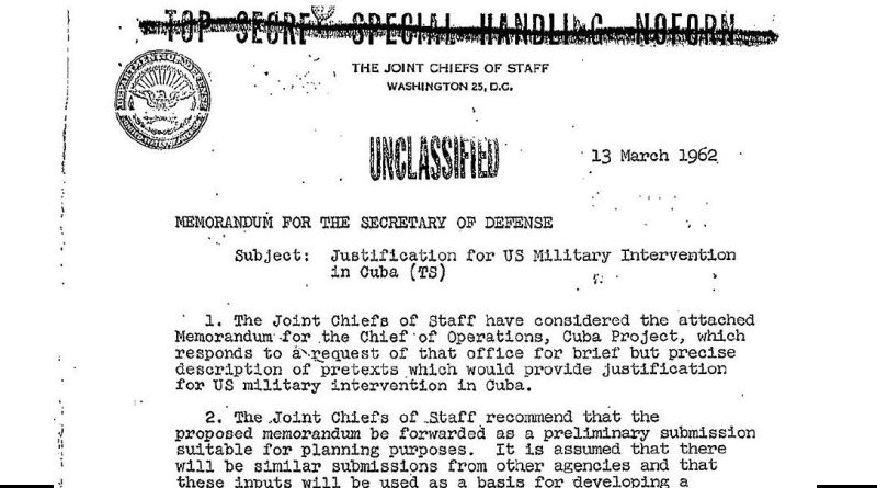 Operation Northwoods memorandum (13 March 1962). Source: Wikipedia Commons