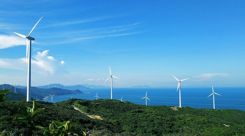 The photo shows wind turbines in Ningbo, an area on China's Pacific coast south of Shanghai. CREDIT Erping Sun