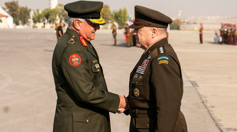 Army Gen. Mark A. Milley, chairman of the Joint Chiefs of Staff, is hosted by his Jordanian counterpart Air Force Lt. Gen. Yousef al-Hunaiti, for an honors arrival ceremony in Amman, Jordan. Photo Credit: Navy Petty Officer 1st Class Dominique A. Pineiro