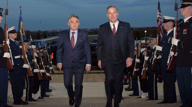 Chairman of Bosnia's tripartite presidency, Zeljko Komsic, and James Anderson, who is performing the duties of deputy undersecretary. Photo Credit: DoD
