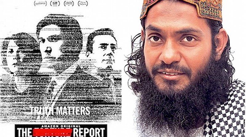 """The poster for """"The Report,"""" about the CIA torture program, and Guantánamo prisoner and former CIA """"black site"""" prisoner Ahmed Rabbani."""