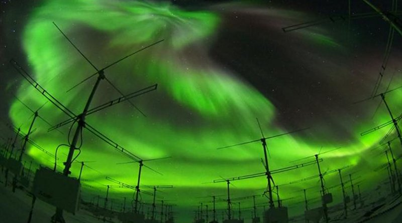 The Program of the Antarctic Syowa Mesosphere-Stratosphere-Troposphere/Incoherent Scatter radar (PANSY radar) consisting of an active phased array of 1045 Yagi antennas. CREDIT Taishi Hashimoto (NIPR)
