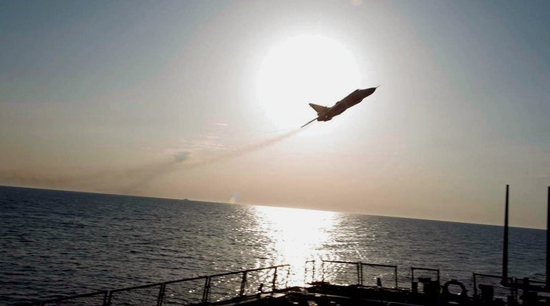 A Russian Sukhoi SU-24 attack aircraft makes a low-altitude pass by the USS Donald Cook. A guided-missile destroyer, the Cook was conducting a routine patrol in the U.S. 6th Fleet area of operations in support of national security interests in Europe. (U.S. Navy)