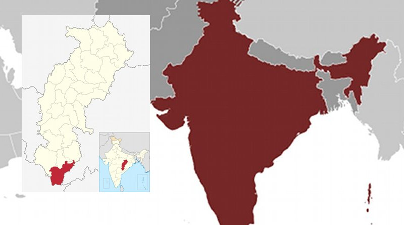 Location of Sukma district in Chhattisgarh, India. Sources: CIA World Factbook and Wikipedia Commons