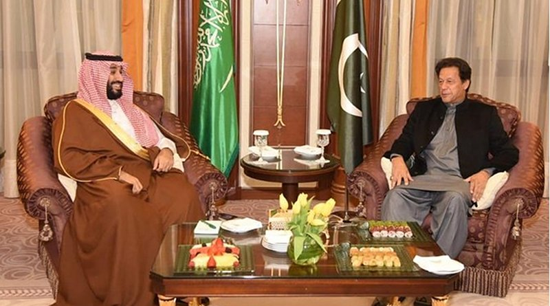 Pakistan's Prime Minister Imran Khan arrived in Riyadh on Saturday, on a trip during which he met with Crown Prince Mohammed bin Salman. (Twitter: @KSAMOFA)