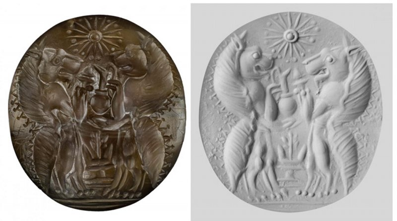 UC archaeologists found a sealstone made from semiprecious carnelian in the family tombs at Pylos, Greece. The sealstone was engraved with two lionlike mythological figures called genii carrying serving vessels and incense burners facing each other over an altar and below a 16-pointed star. The other image is a putty cast of the sealstone. CREDIT UC Classics