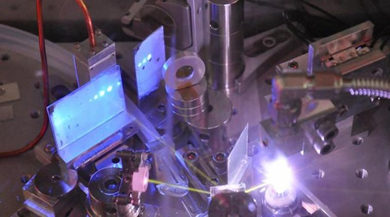 Ultrafast pulses of extreme ultraviolet light are created in a gas jet of white plasma, and are visible as blue dots on a phosphor screen as well as yellow beams from oxygen fluorescence. CREDIT Research to Reality