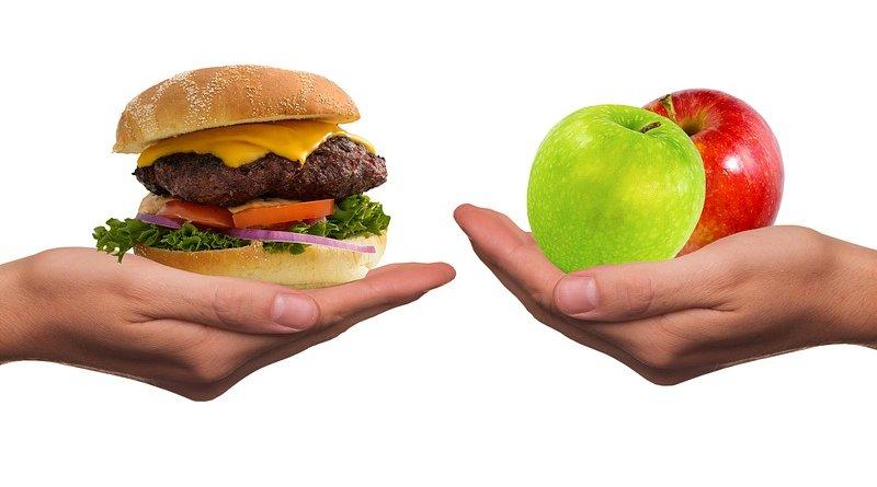 fasting fast diet hamburger fast food apple