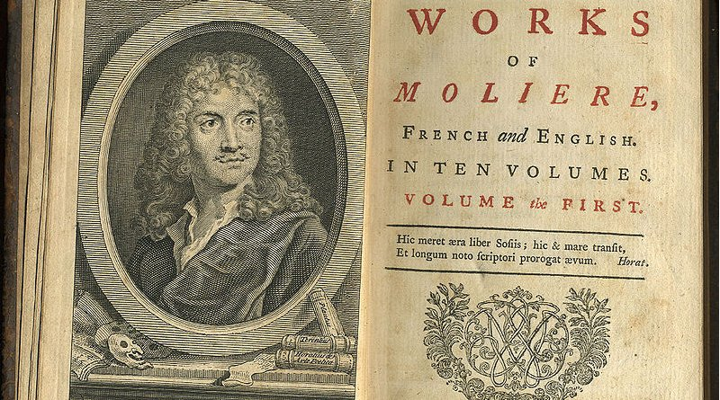 First volume of a 1739 translation into English of all of Molière's plays, printed by John Watts. Credit: Private Collection of S. Whitehead, Wikimedia Commons