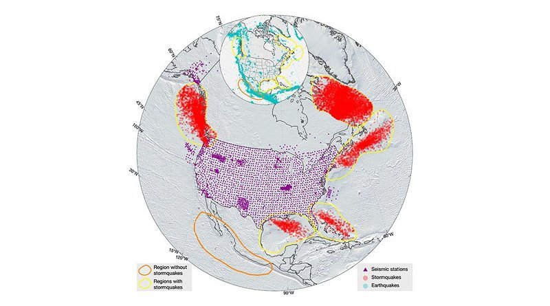 Stormquakes offshore North America (shown as red circles) and seismic stations (shown as triangles) from 2006 to 2015. Some of the apparent stormquake locations are on land due to location uncertainties. The yellow contours show regions where stormquakes were detected; the orange contour shows an offshore region of Mexico that has been struck by hurricanes but without excitation of stormquakes. The insert shows earthquakes (blue dots) reported in the ISC catalog with magnitudes greater than 3 and shallower than 40 km in this same time span. CREDIT Fan, McGuire, de Groot-Hedlin, Hedlin, Coats, and Fiedler