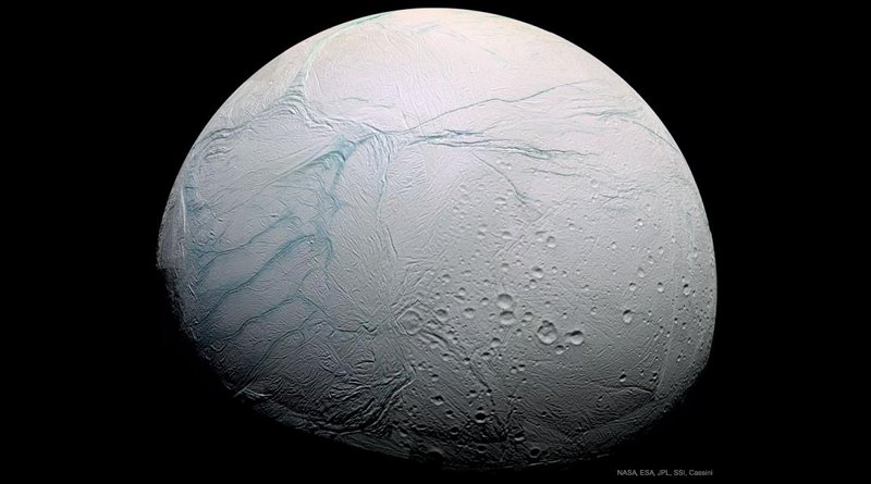"""First seen by the Cassini mission to Saturn, Enceladus' """"tiger stripes"""" are like nothing else known in our Solar System. CREDIT NASA, ESA, JPL, SSI, Cassini Imaging Team"""