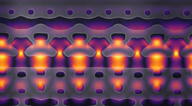 This image, magnified 25,000 times, shows a section of a prototype accelerator-on-a-chip. The segment shown here are one-tenth the width of a human. The oddly shaped gray structures are nanometer-sized features carved in to silicon that focus bursts of infrared laser light, shown in yellow and purple, on a flow of electrons through the center channel. As the electrons travel from left to right, the light focused in the channel is carefully synchronized with passing particles to move them forward at greater and greater velocities. By packing 1,000 of these acceleration channels onto an inch-sized chip, Stanford researchers hope to create an electron beam that moves at 94 percent of the speed of light, and to use this energized particle flow for research and medical applications. CREDIT Image courtesy of Neil Sapra