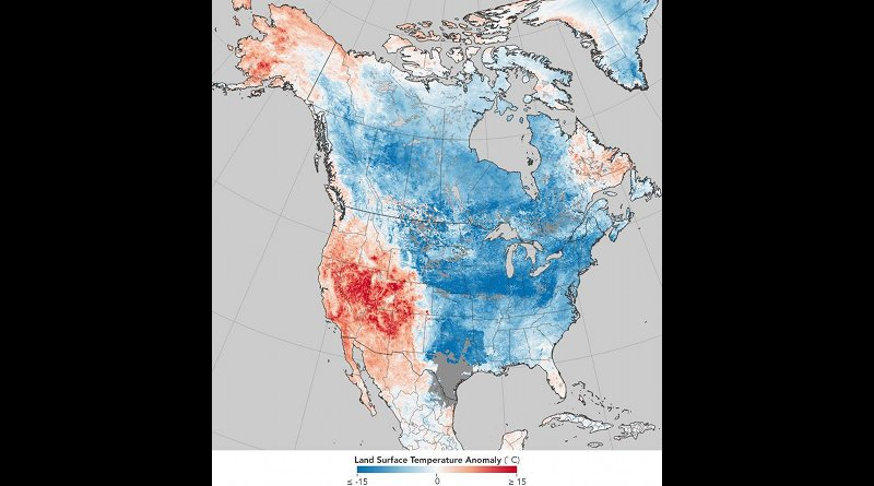 North American surface temperatures for Dec. 26, 2017-Jan. 2, 2018: even if it is extremely cold in a region, this does not mean that climate change has stopped. CREDIT Source: NASA Earth Observatory