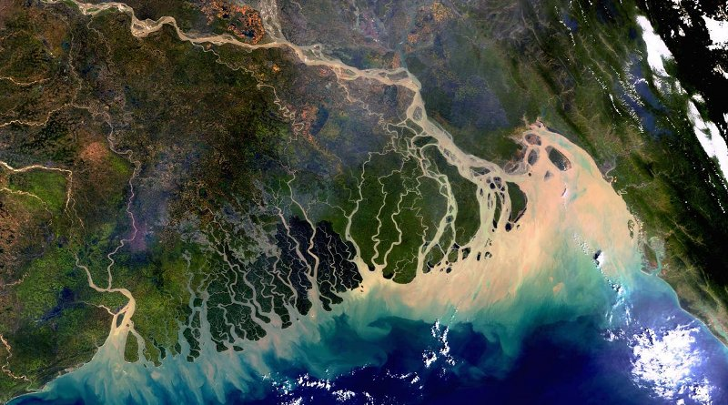 The Ganges-Brahmaputra-Meghna delta as seen from the European Space Agency (ESA) Envisat satellite. The image was taken on November 8, 2003 and covers an area of around 633 x 630 km with a spatial resolution of 300 m. www.esa.int/ESA_Multimedia/Images/2005/03/The_Bangladesh_coastline_seen_by_Envisat CREDIT ESA, CC BY-SA 3.0 IGO (http://www.esa.int/spaceinvideos/Terms_and_Conditions)