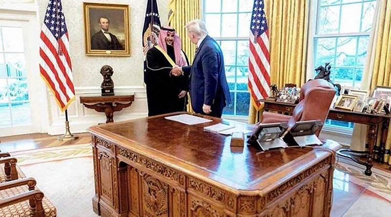 Saudi Arabia's Deputy Defense Minister Prince Khalid bin Salman met with Donald Trump in Washington on Monday. (Twitter: @kbsalsaud)