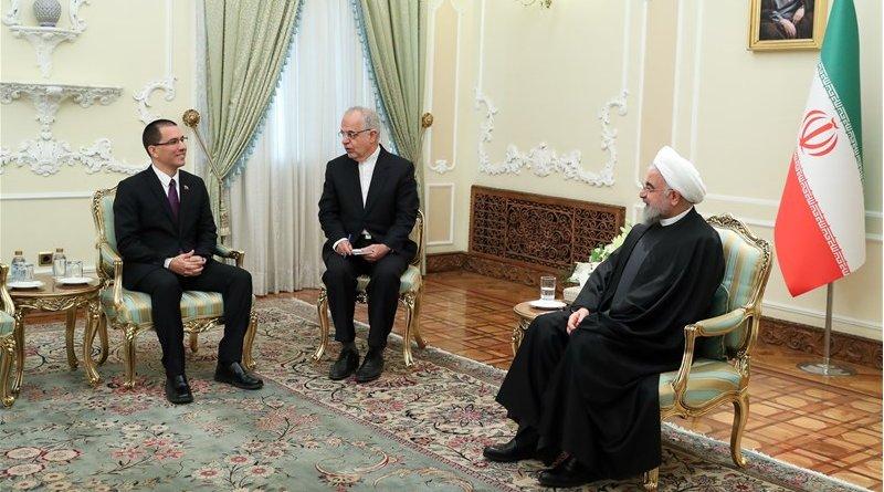 Iranian President Hassan Rouhani with Venezuelan Foreign Minister Jorge Arreaza. Photo Credit: Tasnim News Agency