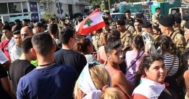 Protestors in Lebanon face off against army. Photo Credit: Tasnim News Agency