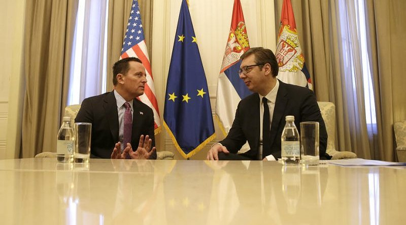 US ambassador to Germany Richard Grenell (L) gestures during the meeting with Serbian President Aleksandar Vucic (R) in Belgrade, Serbia, 24 January 2020.