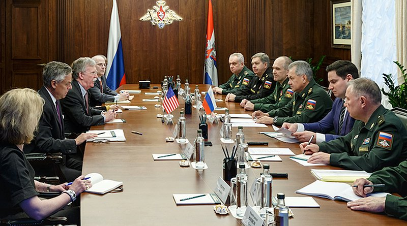 John R. Bolton holds a meeting with Russian Defense Minister Sergei Shoigu in Moscow on 23 October 2018. CC BY 4.0