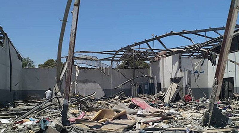 The aftermath of the devastating airstrike on the Tajoura Detention Centre, in the suburbs of the Libyan capital, Tripoli, on 2 July. Credit: UNSMIL/Georg Friedrich.