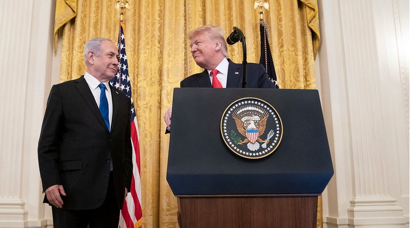 President Donald J. Trump delivers remarks with Israeli Prime Minister Benjamin Netanyahu Tuesday, Jan. 28, 2020, in the East Room of the White House to unveil details of the Trump administration's Middle East Peace Plan. (Official White House Photo by Shealah Craighead)