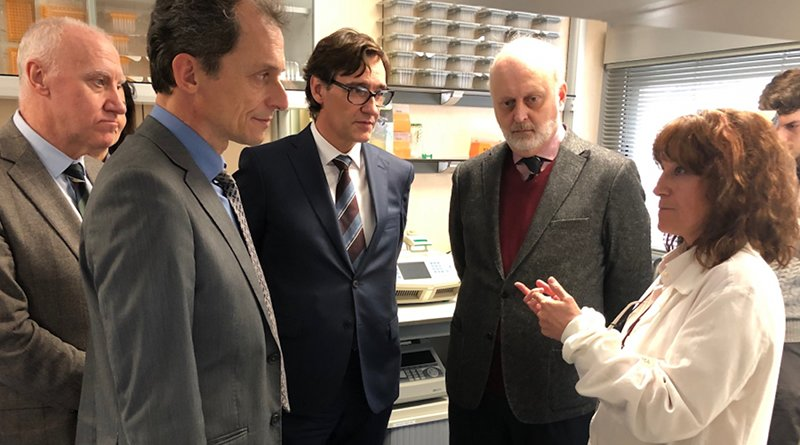 Spain's Minister for Health, Salvador Illa, and the Minister for Science and Innovation, Pedro Duque, visited the National Microbiology Centre, located in Majadahonda (Madrid). Photo Credit: Spain's Ministerio de Sanidad