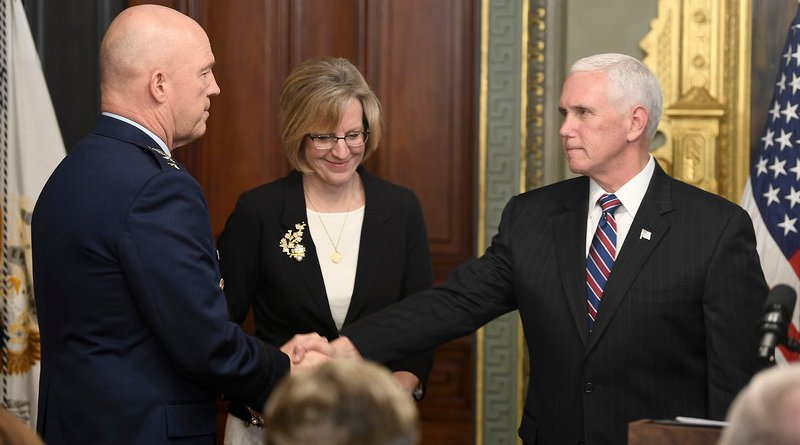 """Vice President Mike Pence congratulates Gen. John W. """"Jay"""" Raymond after swearing him in as the first chief of space operations during a ceremony in Washington, Jan 14, 2020. Photo Credit: Andy Morataya, Air Force"""