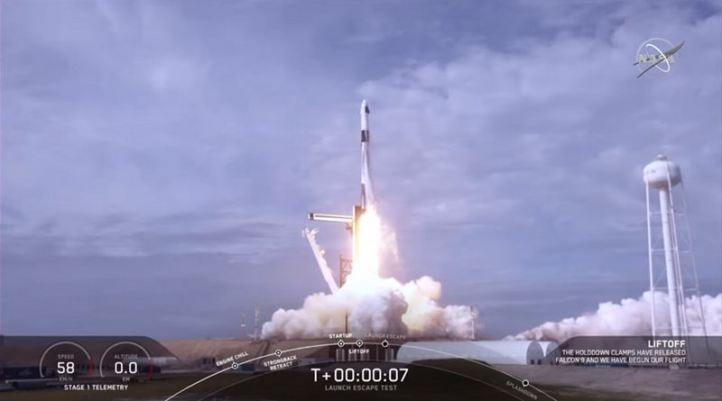 NASA and SpaceX completed a launch escape demonstration of the company's Crew Dragon spacecraft and Falcon 9 rocket on Jan. 19, 2020. The test began at 10:30 a.m. EST with liftoff from Launch Complex 39A at NASA's Kennedy Space Center in Florida on a mission to show the spacecraft's capability to safely separate from the rocket in the unlikely event of an inflight emergency. Credits: NASA Television