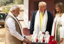 President Donald J. Trump and First Lady Melania Trump are presented with a gift by Indian Prime Minister Narendra Modi during a tour of the home of Mahatma Gandhi Monday, Feb. 24, 2020, at Gandhi Ashram in Ahmedabad, India. (Official White House Photo by Shealah Craighead)