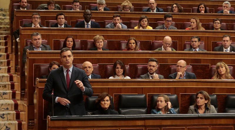 Spain's Prime Minister Pedro Sánchez speaking in Parliament. Photo Credit: Moncloa