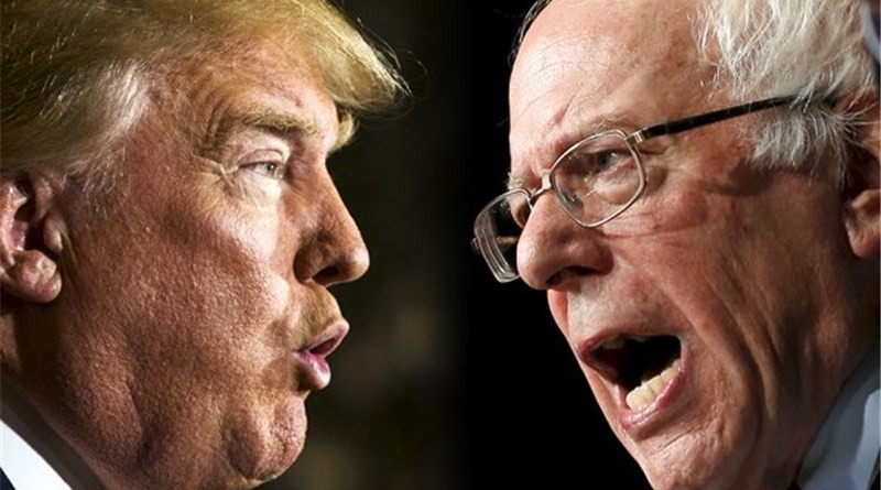 Montage of US President Donald Trump versus Bernie Sanders. Photo Credit: Tasnim News Agency