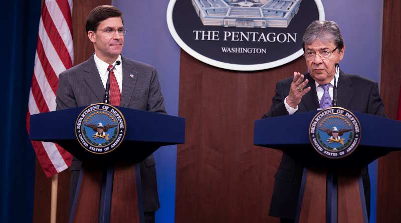 Defense Secretary Dr. Mark T. Esper and Colombia's Defense Minister Carlos Holmes Trujillo hold a Pentagon press briefing, Feb. 7, 2020. Photo Credit: Marvin Lynchard, DOD