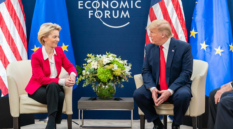 President Donald J. Trump meets with the President of the European Commission Ursula von der Leyen during the 50th Annual World Economic Forum meeting Tuesday, Jan. 21, 2020, at the Davos Congress Centre in Davos, Switzerland. (Official White House Photo by Shealah Craighead)