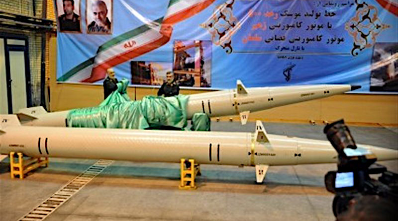 "Iran's ""Ra'ad-500"" (thunder-500) missiles equipped with an advanced composite engine dubbed ""Zohair"". Photo Credit: Tasnim News Agency"