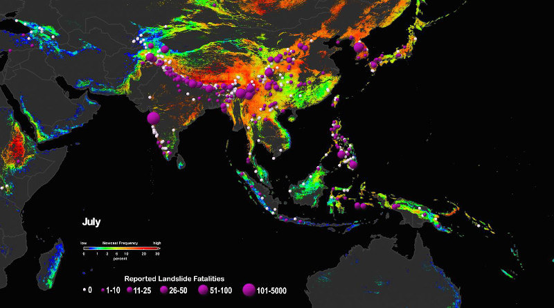 NASA'S LHASA landslide risk model and Global Landslide Catalog track the areas most at risk from deadly landslides, which can cause effects ranging from destroying towns to cutting off drinking water and transportation networks. CREDIT Credit: NASA Scientific Visualization Studio / Helen-Nicole Kostis