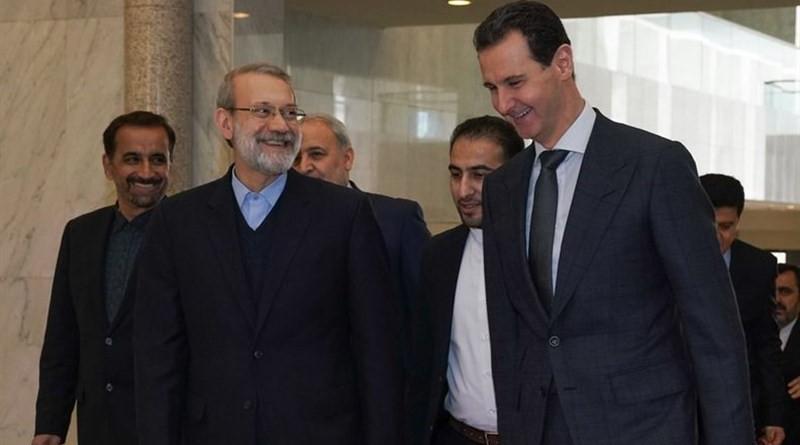 Iran's Parliament Speaker Ali Larijani with Syrian President Bashar Assad. Photo Credit: Tasnim News Agency