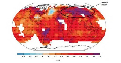 Deep red and deep blue in the CEECCA region indicate warming by 1.0°C to 2.5°C in the last 112 years. CREDIT Source: IPCC AR5, 2014