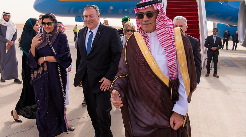 Secretary of State Michael R. Pompeo arrives and is greeted by U.S. Ambassador to Saudi Arabia John Abizaid in Riyadh, Saudi Arabia, on February 19, 2020. [State Department Photo by Ron Przysucha/ Public Domain]