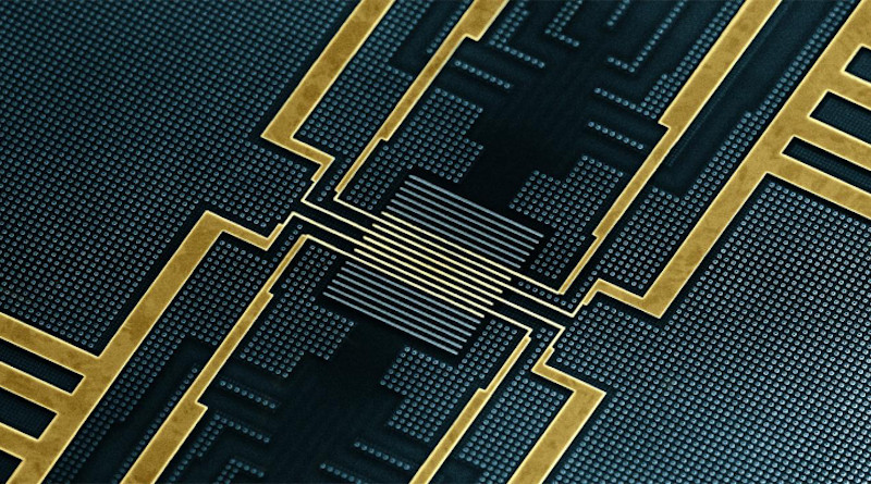 The chip produced by IMEC for the experiments at ETH. The tunnel junctions used to measure the timing of the magnetisation reversal are located at the centre (Image courtesy of IMEC). CREDIT IMEC