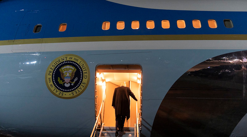 President Donald J. Trump climbs the stairs to board Air Force One. Official White House Photo by Shealah Craighead