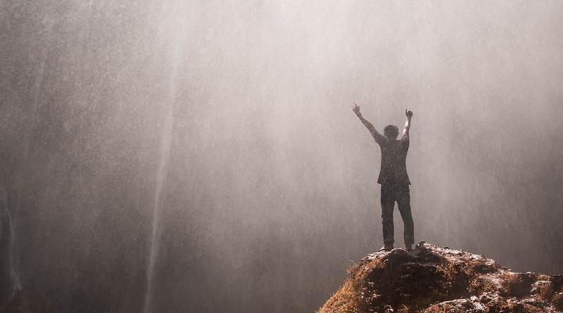 man Waterfall Indonesia Malang Java Rocks Water Happy