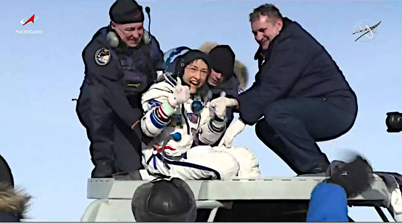NASA astronaut Christina Koch gives a thumbs-up as she emerges from the Soyuz spacecraft that carried her home Feb. 6, 2020, from a record-setting 328-day mission aboard the International Space Station. She and her Expedition 61 crewmates, Soyuz Commander Alexander Skvortsov of Roscosmos and Luca Parmitano of ESA (European Space Agency), landed at 4:12 a.m. EST in Kazakhstan, southeast of the remote town of Dzhezkazgan. Credits: NASA Television