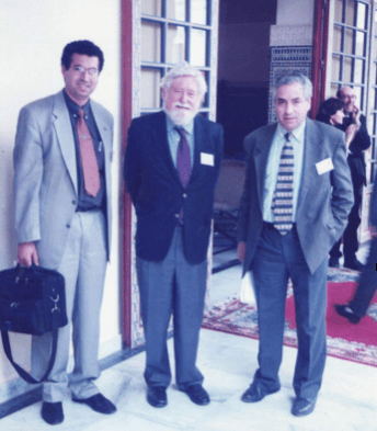 From left to right : Rachid Raha, Clifford Geertz and Mohamed Chtatou in Sefrou
