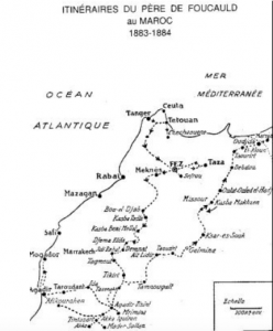 Itinerary of Charles de Foucauld in Morocco 1883-1884