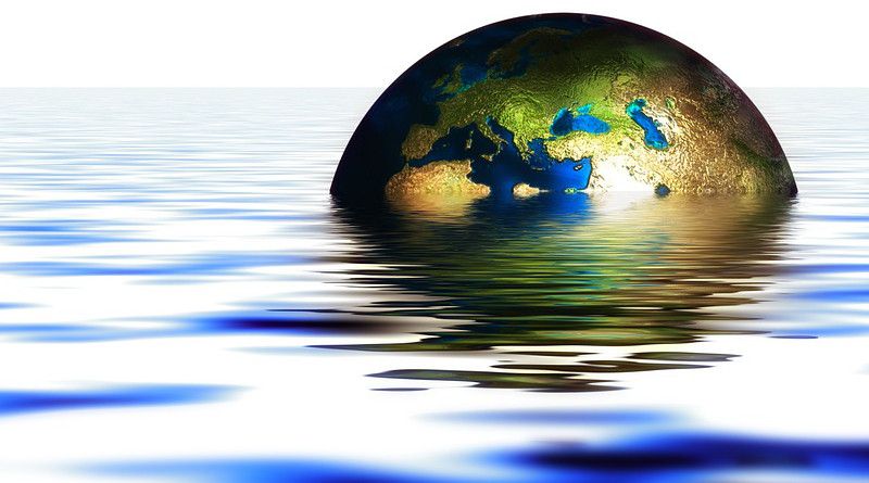 Globe Earth Water Wave Setting Immersed Flood Climate Change