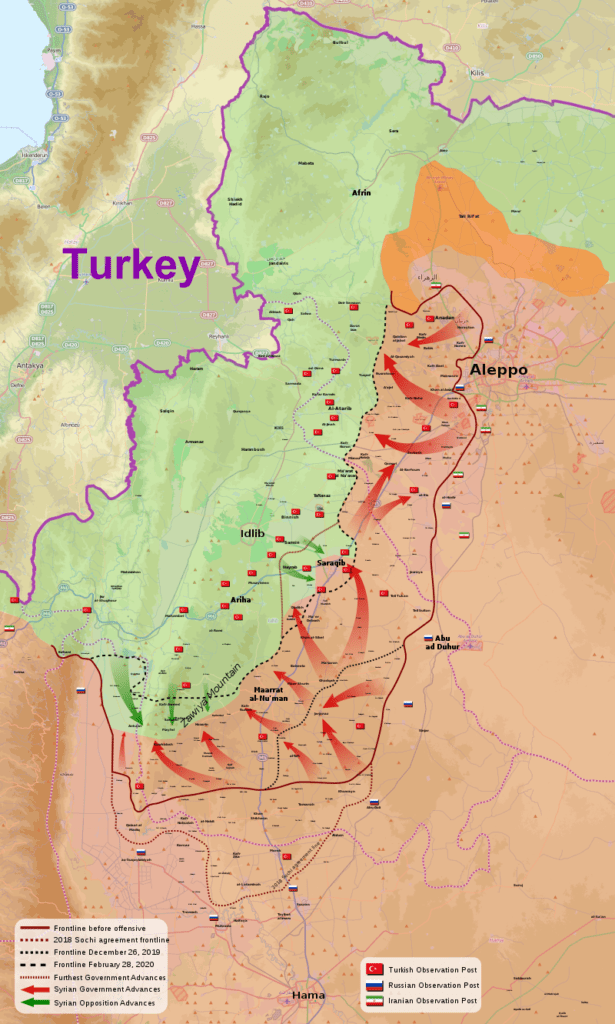 (Idlib Offensive: Derived from work by MrPenguin20/WikiMediaCommons)