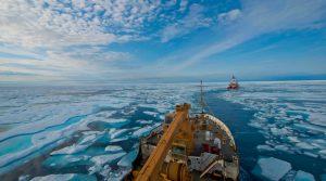 Crew of U.S. Coast Guard Cutter Maple follows Canadian Coast Guard Icebreaker Terry Fox through icy waters of Franklin Strait, in Nunavut Canada, August 11, 2017 (U.S. Coast Guard/Nate Littlejohn)