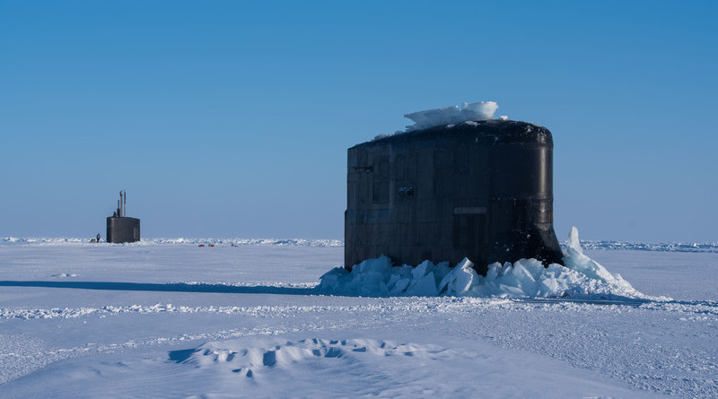 USS Connecticut and USS Hartford break through ice in support of Ice Exercise 2018, Ice Camp Skate, March 9, 2018 (U.S. Navy/Michael H. Lee)