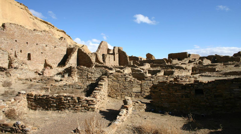 The north wall and room block of Pueblo Bonito, the largest of the great houses in Chaco Canyon. Pueblo Bonito is considered widely as the center of the Chaco world. CREDIT Thomas Swetnam