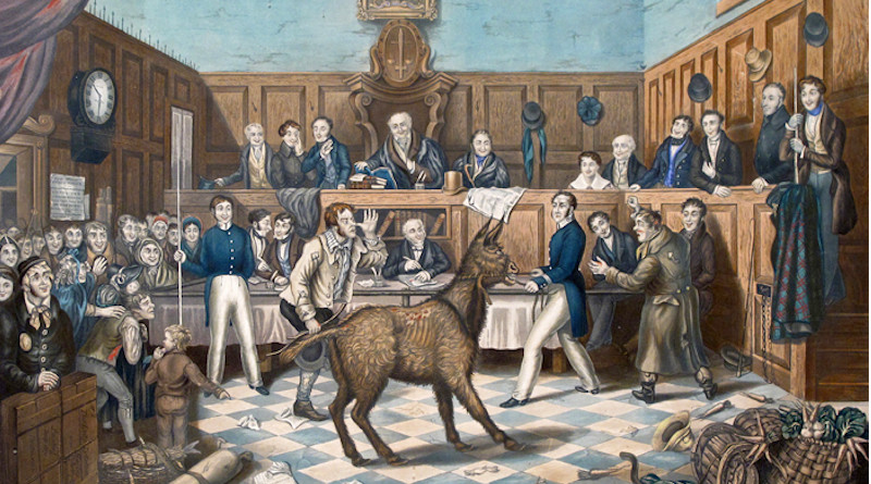 A painting of the trial of Bill Burns, the world's first known conviction for animal cruelty under the 1822 Martin's Act, after Burns was found beating his donkey. Credit: Painting by P. Mathews, Wikipedia Commons